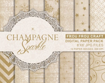 Winter Digital Paper Pack Champagne Instant Download Glitter Gold Snowflake Sparkle Star Beige White Printable Background Texture 6x6 inches