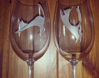 Hand Etched wine glasses custom