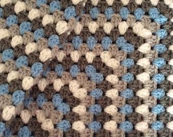 Boys crochet granny square blanket . Buggy/ pram/ stroller/ car seat. Ready to ship