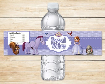 Sofia the First Water Bottle Labels Purple Dots // Sofia the First Drink Labels // Sofia the First Birthday // Sophia the First