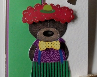Boy's birthday card. Card for a boy's birthday. Numeric birthday card. Custom birthday card. Bear dressed as clown card. Age birthday card.