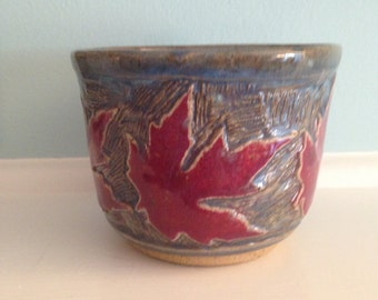Sale Small bowl w/ red leaves  Wheel thrown pottery bowl. Handmade blue & red bowl. Ceramic stoneware bowl that is cool pottery. Unique bowl