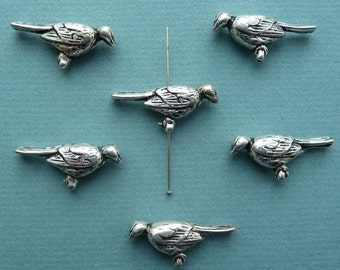 Vintage antique silver plated puffed perched bird charm, made in USA, 34 x 16mm, Qty. 6 (CA35)