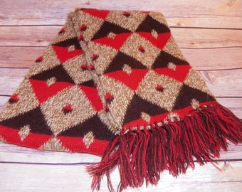 Vintage Scarf Brown Orange Diamond Pattern Fringed