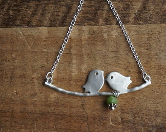 Necklace with two birds on a twig