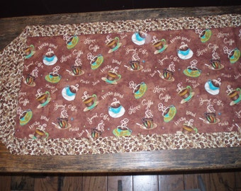 "Table Runner with Coffee Beans and Coffee cups.  Perfect for that Coffee break with friends! 14"" x 40"""