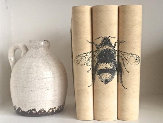 Bee Decorative Book Set with Custom Book Covers - Bee Books - Interior Design Books with Custom book jackets - Custom Books - Bookcase Decor