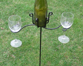 wrougth  iron wine holder for outdoors
