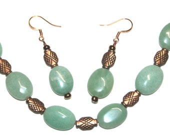Green Aventurine and Copper Bracelet and Earring Set