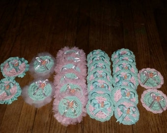 Hand crocheted baby shower pins for guests, set of 25