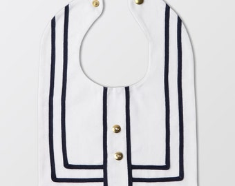 white sailor bib with buttons  - bib with appliqué