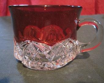 REDUCED PRICE!  Small Vintage Ruby Flash Glass Mug