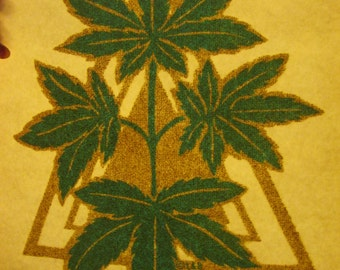 Pot leaves,true vintage 1970s,very pretty iron on decal.