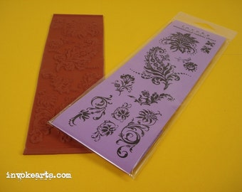 Paisley Flourishes / Invoke Arts Collage Rubber Stamps / Unmounted Stamp Set
