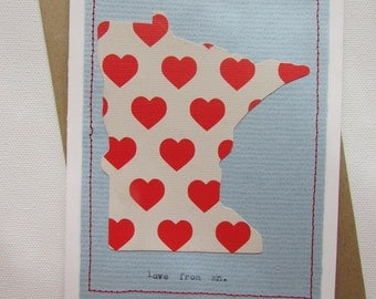 """Greeting Card - """"love from mn"""""""