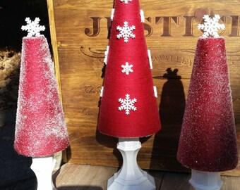Winter Wonderland Tree Set, Snowflake Trio of Trees, Christmas Tree Display, Snowy Tree Set