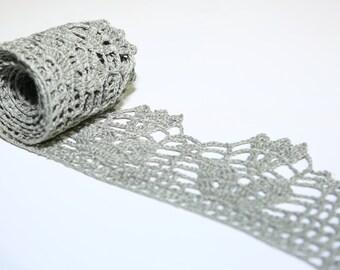 Hand made linen crochet lace/ BLACK crochet lace