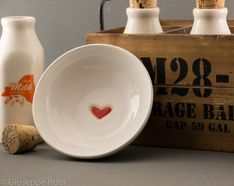 Heart Cereal Bowl in Shiny White