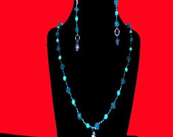 blue and aqua necklace set