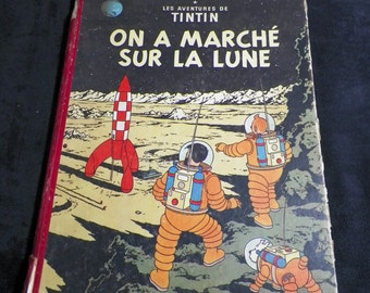 TINTIN Album | Explorers on the Moon by Hergé 1954 Edition | Rare French Edition color CASTERMAN France