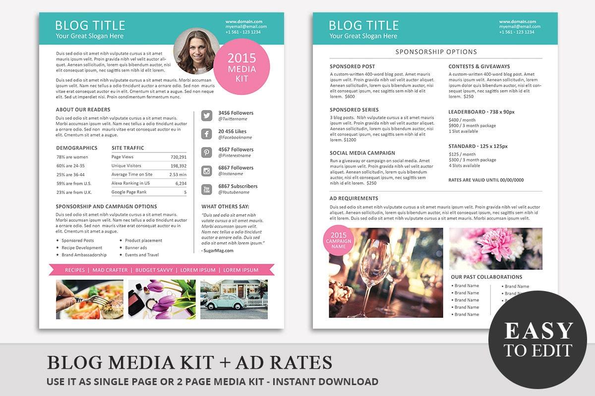 blog media kit template 01 ad rate sheet template press