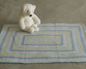 Crochet Baby Blanket Heirloom Handmade Afghan Throw Gender Neutral Baby Blanket White Yellow Blue Mint Green play pin crib stroller car seat
