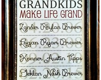 Grandparent Print - Grandparent Gift - Grandkids Names and Birthdate Print - Grandkid Print - Personalized print - Grandparent Keepsake