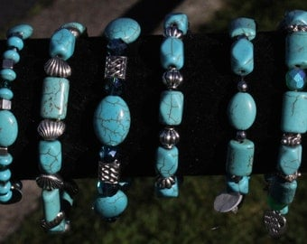 """6 Magnificent Hand Made And Designed Beaded Tibetan Turquoise, Brilliant Crystal And Tibetan Silver Findings.All In A Turquoise, Aqua Motif"""""""