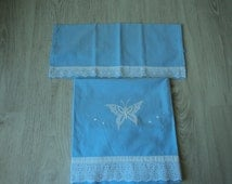 French Vintage babies blue and white embroidered sheet and pillowcase  (01035)