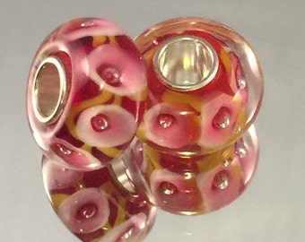 Murano Glass Bead - .925 Plated - Pink With White & Pink Flowers - #M62