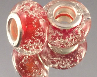 Murano Glass Bead - .925 Sterling Silver - Red Effervescent - #M93