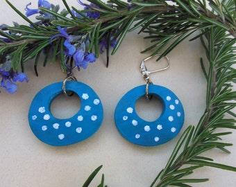Blue Gourd Art Earrings,Lightweight gourd earrings, Polka dot gourd earrings