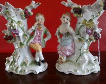 Antique Heubch Porcelain Figural Spill Vases