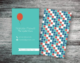 Instant Download Mommy Calling Card, Retro Business Card, Red Balloon & Checkboxes (PSD, PDF)