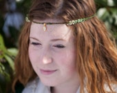 Darby's Green Brown and Gold Crochet Crown Headband with Beads and Pendant, Celtic, Gypsy, Boho, Goddess, Festival, Fae, Fantasy, Renaissanc
