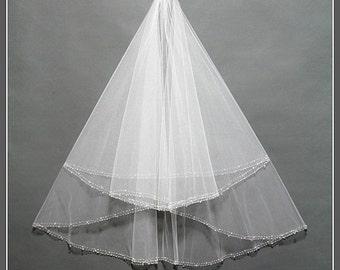 Elbow Length Bridal Veil, Bridal Veil Comb, Two Tier Bridal Veil, Bridal Veil with Crystals, Bridal Veil Fingertip, Ivory Wedding Veil/ V025