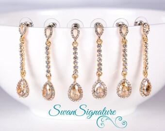 SALE 15% OFF SET of 5 Wedding Jewelry Bridesmaid Jewelry Bridal Earrings Bridesmaid Earrings Gold Earrings Yellow Stone Zircon Stone est16