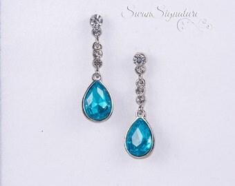 Aquamarine Blue Wedding Earrings Zirconia Earrings Wedding Jewelry Bridesmaid Earrings Bridesmaid Teardrop Earrings Accessories stl133