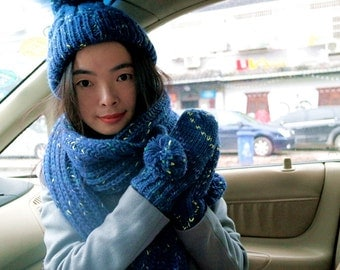 Blue Knitting hat,  scarves, gloves, three combinations, warm scarf gloves hats Acryli c material Blue hat hat  woman