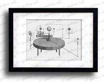 Antique Planetarium Astrolabe Clipart - Antique Victorian Solar System Planetarium Stars Printable Graphics - Instant Digital Download Image