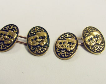 Men's 14KT Gold Cufflinks, Drama Theater Faces, Comedy Tragedy