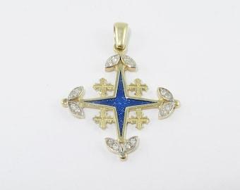 14K Gold, Jerusalem Cross, Diamonds, cold Blue Enamel,Pendant ,