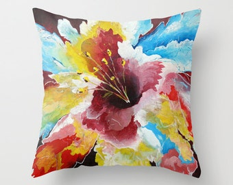 Floral Pillow Cover, Colorful Throw Pillows, Hibiscus Flower, Red Blue Pillow, Tropical Pillow Decorative Pillows Accent Pillow, Sofa Pillow