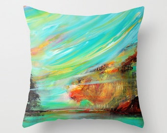 turquoise pillow abstract pillow cover art pillow blue yellow decorative throw pillow - Decorative Pillows For Sofa