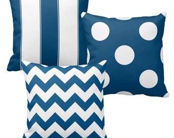 Navy Blue Pillow Covers, Blue and White Polka Dot Pillow, Chevron Pillow, Decorative Throw Pillows, Couch Pillows, Sofa Pillows, Cushions