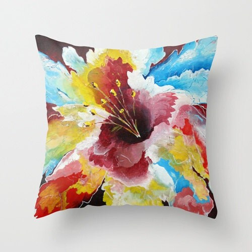 Floral Pillow Cover Colorful Throw Pillows Hibiscus Flower