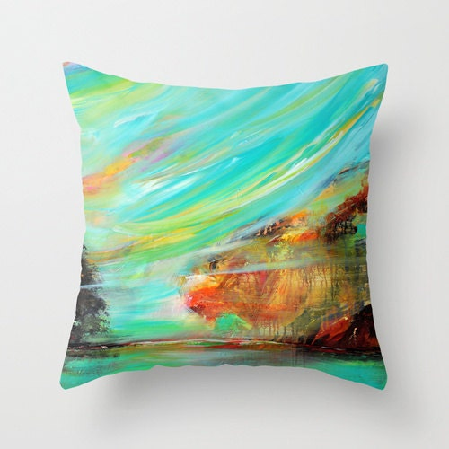 Turquoise Pillow Abstract Pillow Cover Art Pillow Blue