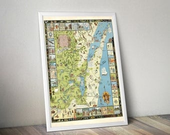 Door County Wisconsin Map | Door County Map | Illustrated Map of Door County, Wisconsin | Wisconsin Vintage Map