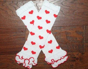 Valentine's Day Red and White Hearts Baby Leg Warmers, Baby Leg Warmers