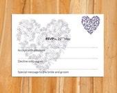 Wedding RSVP template (soft blue heart)  Download PRINTABLE Microsoft word template DIY wedding rsvp rose heart printable rsvp
